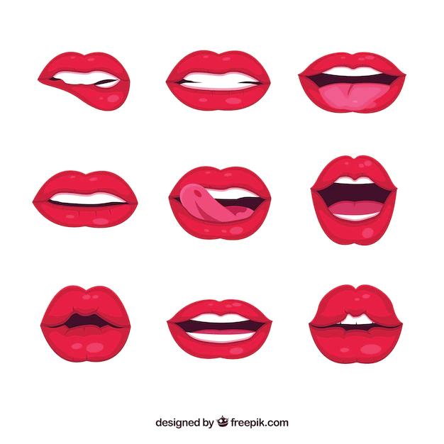 Female Lips Collection With 2d Style Nohat
