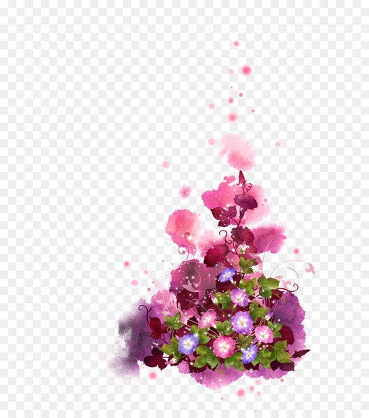 Flower Graphic design Clip art - Ink pink fantasy flowers background  png image transparent background