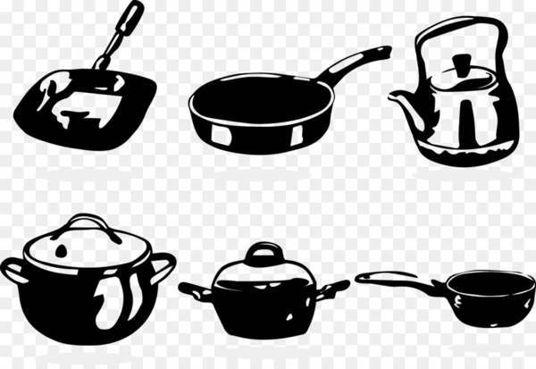 Red cooking Frying pan Cookware and bakeware - Vector black and white cooking pot  png image transparent background