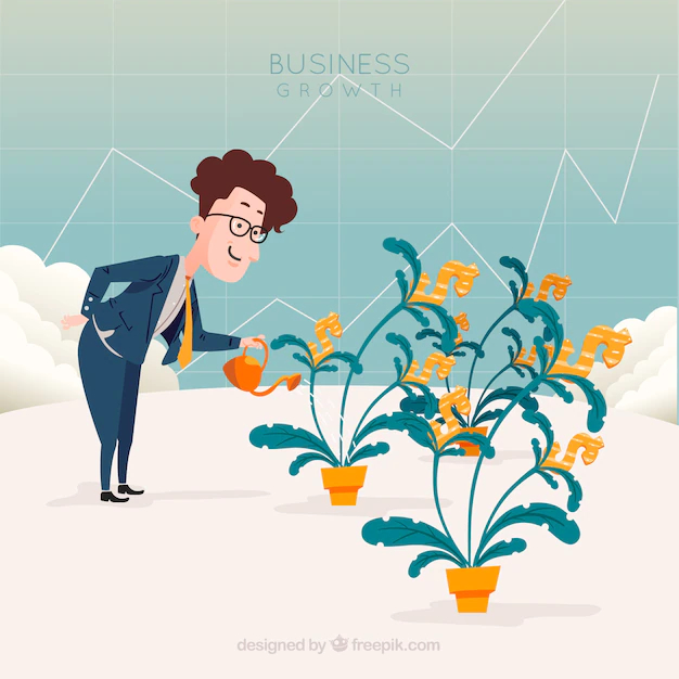 Business Concept With Man Watering Plants Nohat Free For Designer