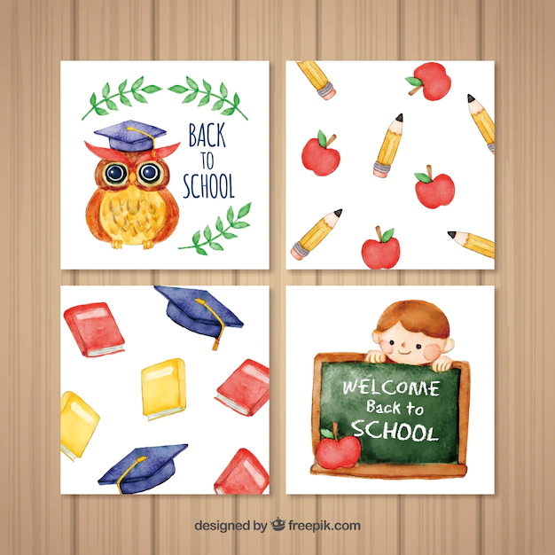 Marvelous Watercolor Back To School Card Collection Nohat Funny Birthday Cards Online Fluifree Goldxyz