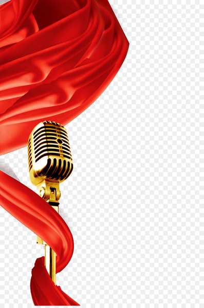 Microphone Download Poster - Flying red silk and gold microphone  png image transparent background