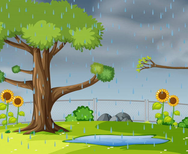 Raining In The Garden Free Vector Nohat Free For Designer
