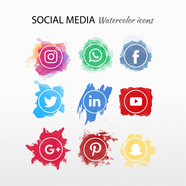Social Media Logotype Collection Watercolor Free Vector Nohat