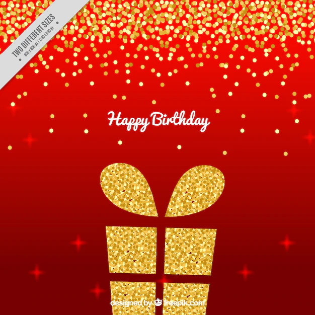 Red Background With Golden Birthday Present And Confetti Nohat