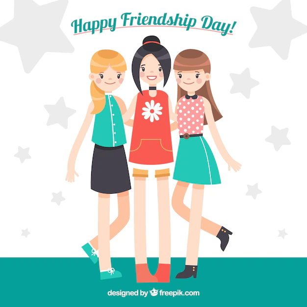 Friendship Day Background With Three Girls Nohat