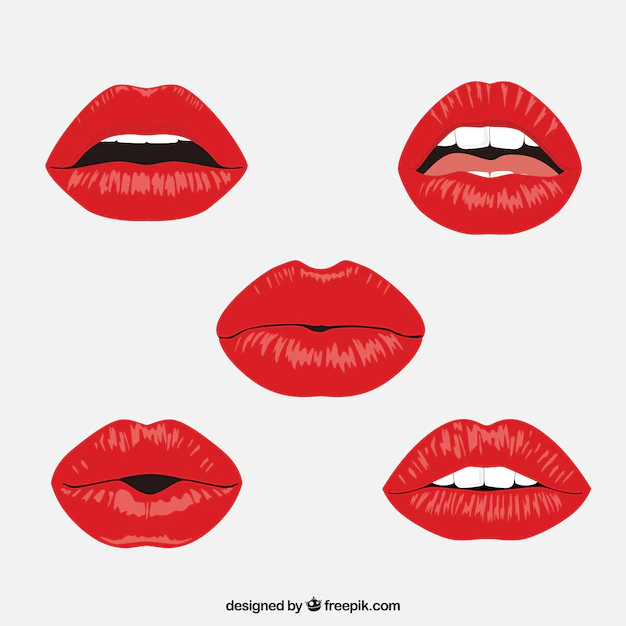 Red Lips Collection With Flat Design Nohat