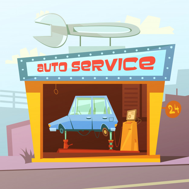 Auto service building cartoon background - Nohat