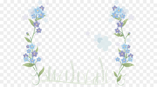 Flower Blue - Hand-painted blue flowers border  png image transparent background