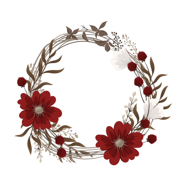 Flower wreaths drawing - red flowers Free Vector png image transparent background