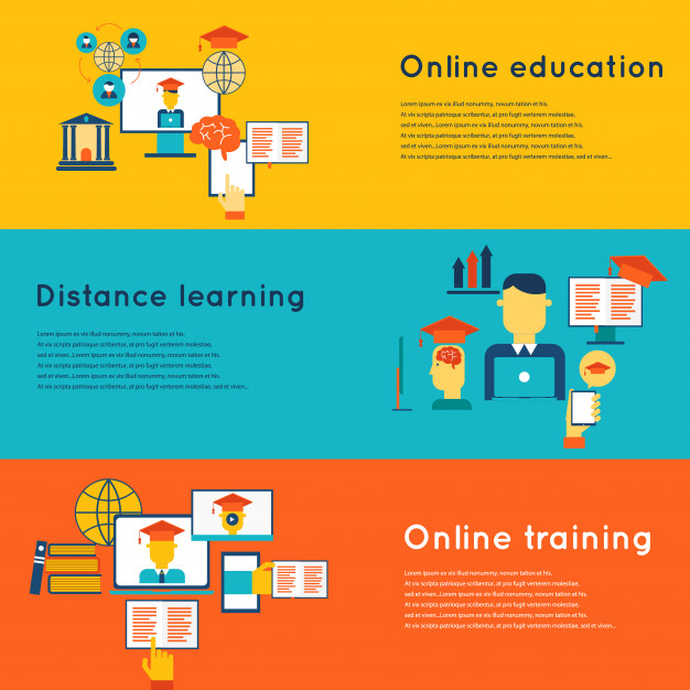 Online Education Flat Horizontal Banners Set With Distance Learning And Training Elements Isolated Vector Illustration Free Vector Nohat
