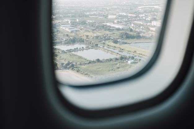 Airplane Window With City View Free Photo Nohat