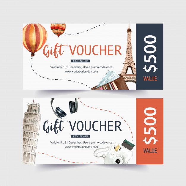 Tourism Voucher Design With Eifel Tower Leaning Tower Of Pisa Free Vector Nohat