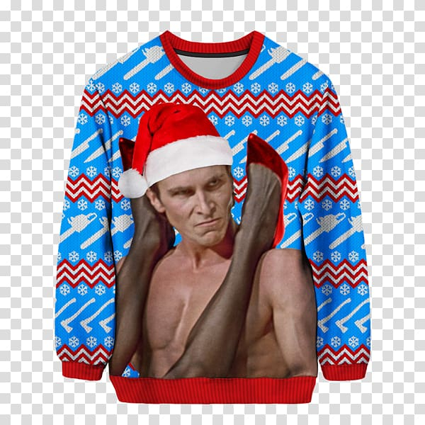 Christian Bale American Psycho Patrick Bateman T Shirt Christmas Jumper Ugly Christmas Sweater Transparent Background Png Clipart Png Free Transparent Image