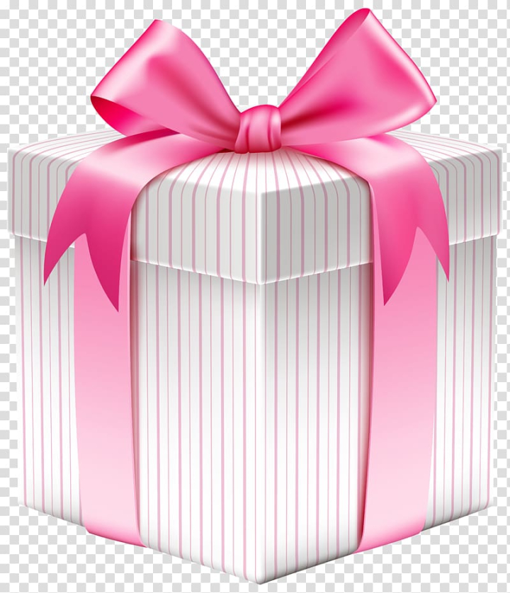 White And Pink Giftbox Christmas Gift Box White Striped