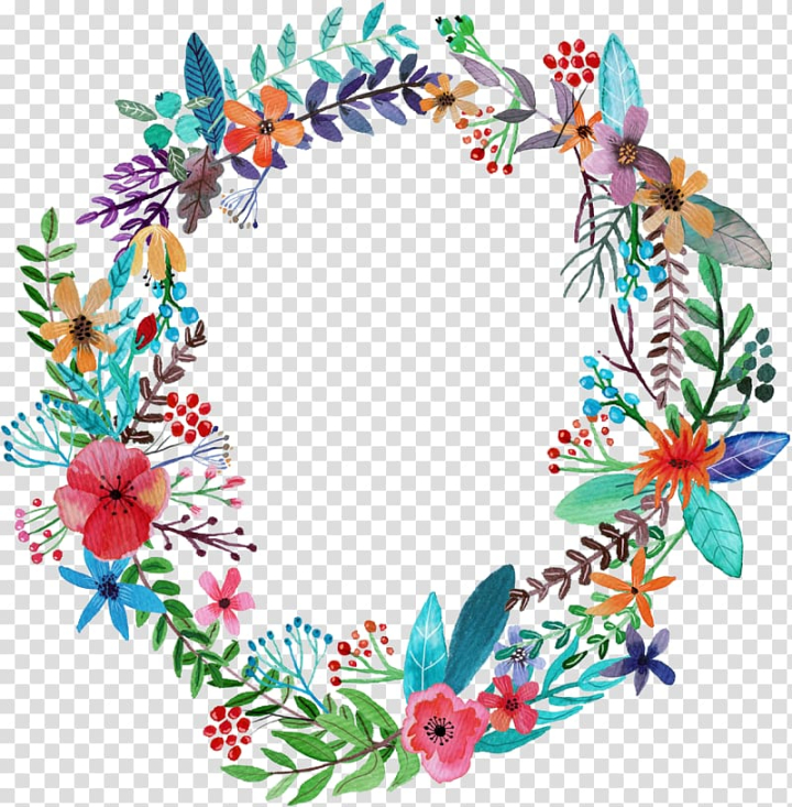 Blue Background With Flower Wreath Illustration Sticker Decal Kimmy Schmidt Female T Shirt Hand Painted Garlands Transparent Background Png Clipart Nohat
