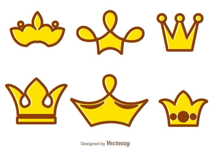 Crown Cartoon Logos Nohat Free For Designer Luxury premium medieval gold symbols of monarchy scepter antique diadem cute cheerful king ruler on throne crown on head power and scepter in hands cartoon character 3d. nohat