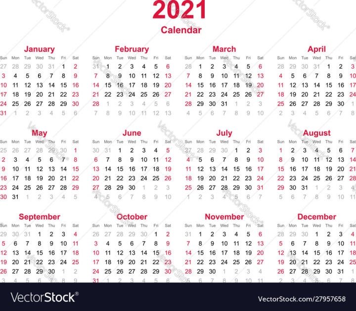Calendar 2021 vector image   Nohat   Free for designer