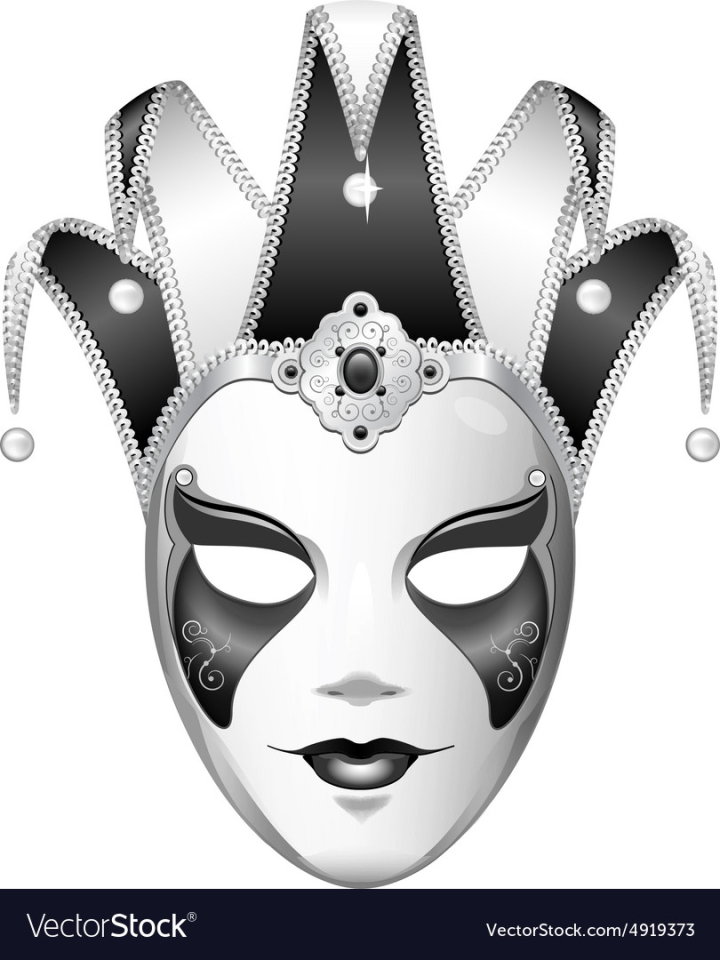 Black And White Joker Mask Vector Image Nohat