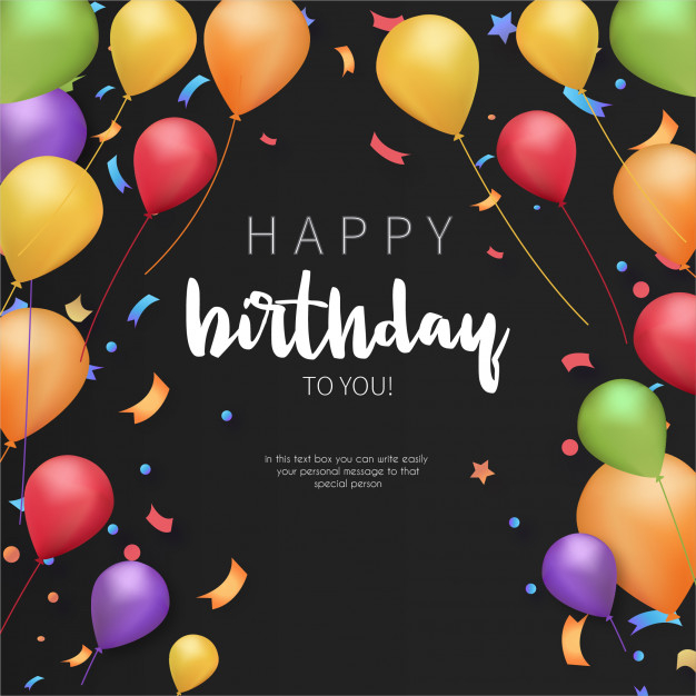 Colorful Happy Birthday Greeting Card Template Free Vector Nohat Free For Designer