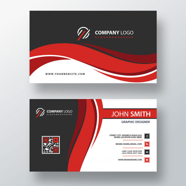 Red Wavy Psd Business Card Template Free Psd Psd Free Psd Resources
