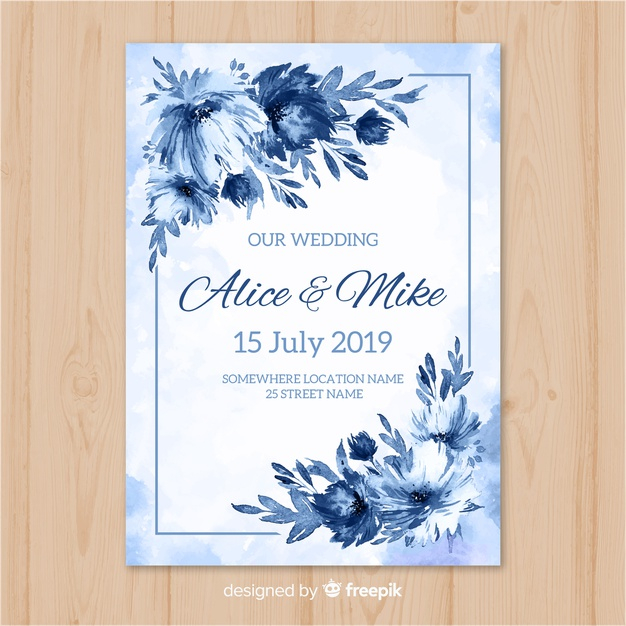 Watercolor Wedding Invitation Template Free Vector Nohat Free For Designer