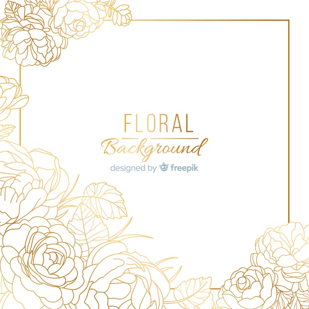 Hand Dawn Golden Floral Background Free Vector Nohat
