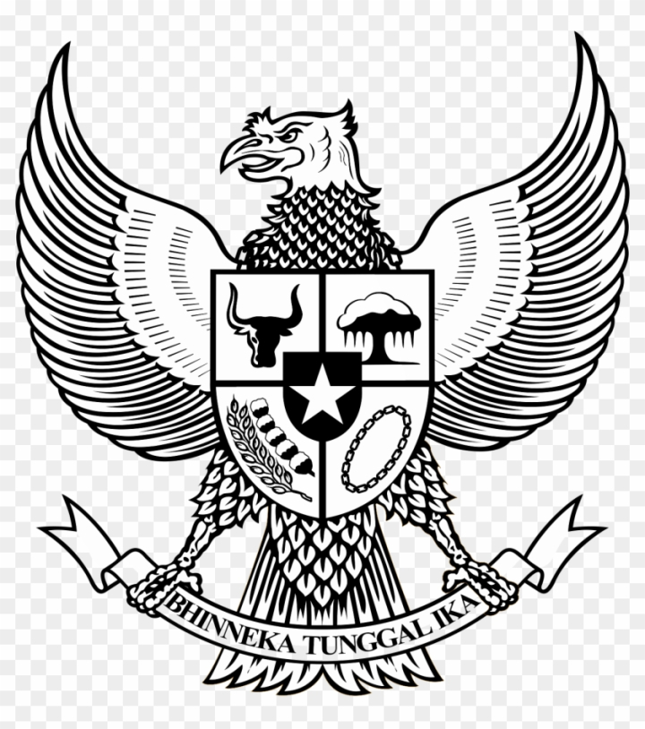 Logo Garuda Pancasila Bw Hitam Putih - National Emblem Of Indonesia png image transparent background